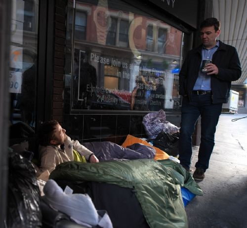 Click to view Andy Burnham meets homeless after being elected
