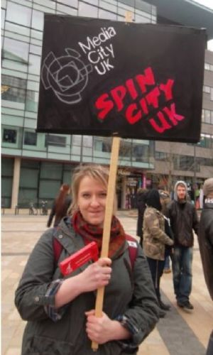Click to view BBC bias protest at Media City