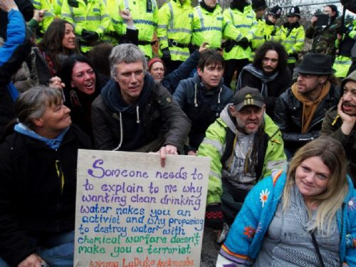 Click to view Bez Joins Barton Moss Anti Fracking Protest