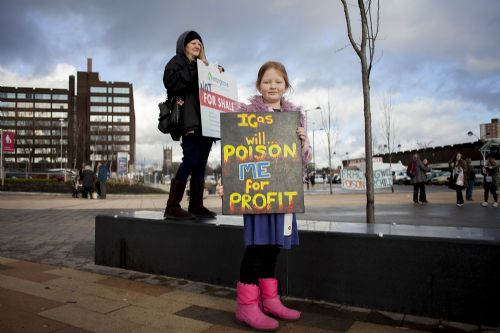 Click to view Salford Shopping Centre Anti Fracking Campaign