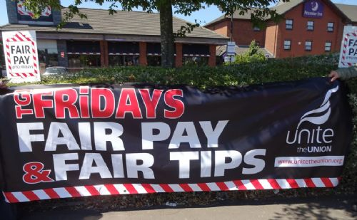 Click to view Protest outside TGI Fridays Prestwich