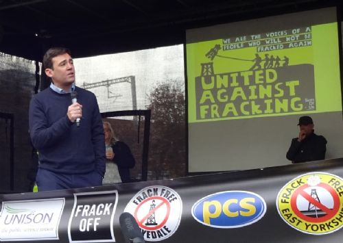 Click to view Andy Burnham at Manchester Anti-fracking rally