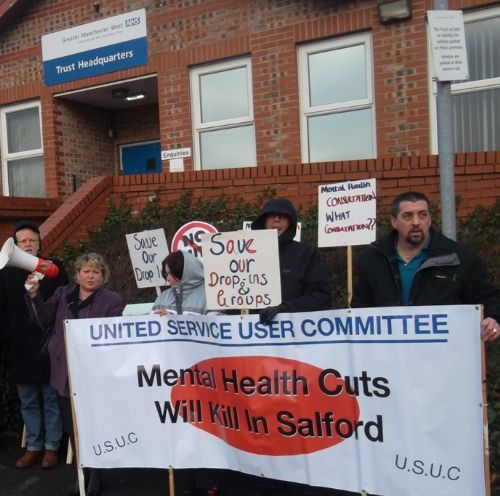 Click to view Salford Mental Health Cuts Protesters Take Fight To Greater Manchester West Trust HQ
