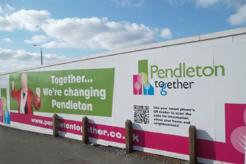 Click to view Pendleton PFI hoarding Salford