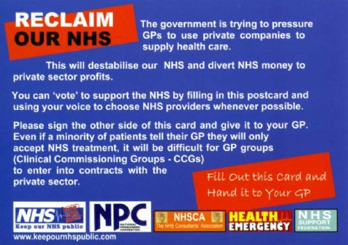 Click to view Reclaim Our NHS Postcard