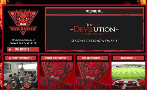 Click to view Salford Red Devils New Website and scary logo
