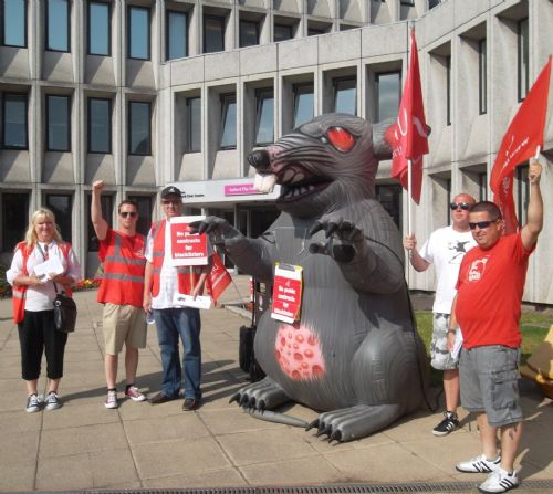 Click to view Unite the union protest at Salford Council