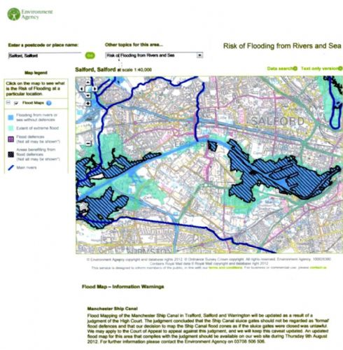 Click to view Flood Zones and the Manchester Ship Canal