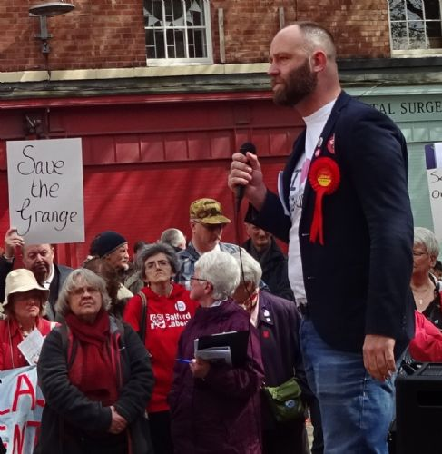 Click to view Salford Mayor faces Save The Grange campaigners on May Day