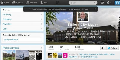Click to view Salford Mayor Blocked Twitter Account