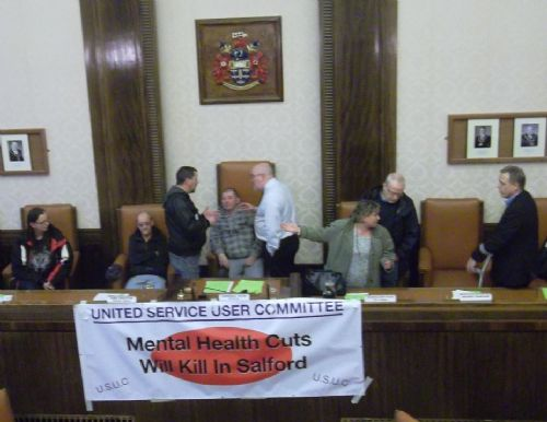 Click to view Salford Anti Cuts Protesters Occupy Salford Council Chamber