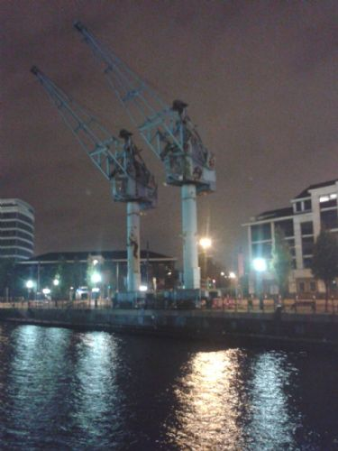 Click to view Salford Quays Cranes The Final Night