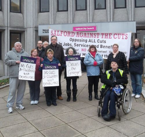 Click to view Save The Grange campaigners outside Salford Civic Centre this morning
