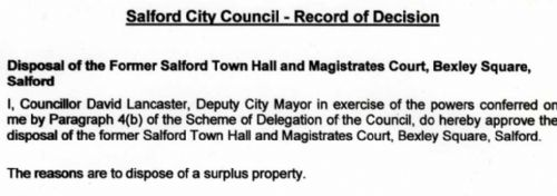 Click to view Salford Town Hall `disposal' notice