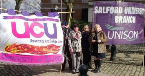 Click to view Salford University unions UNISON and UCU protest