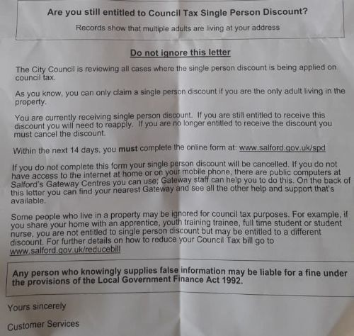 Click to view Threatening Salford Council Tax letter