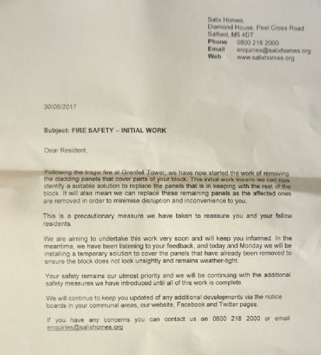 Click to view Salix Homes letter to Canon Hussey residents
