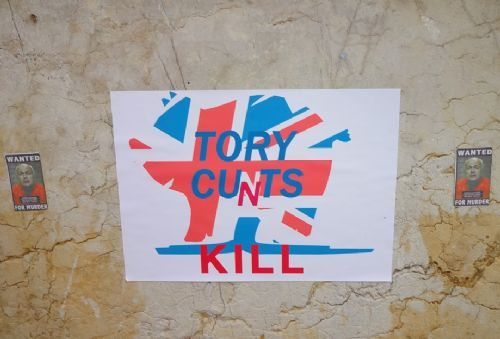 Click to view Anti-Tory messages at Piccadilly Gardens