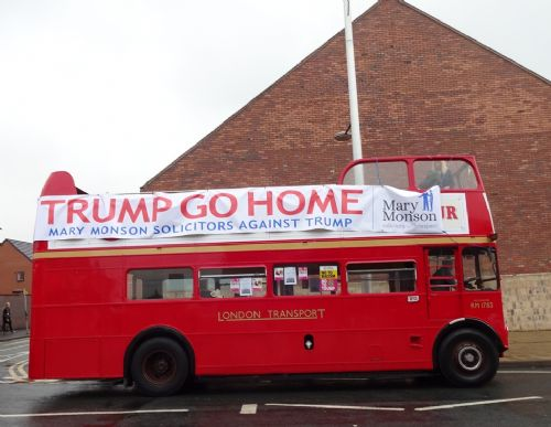 Click to view Trump Go Home bus hits Salford