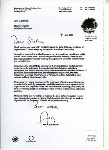 Click to view Andy Burnham Letter To Salford Star