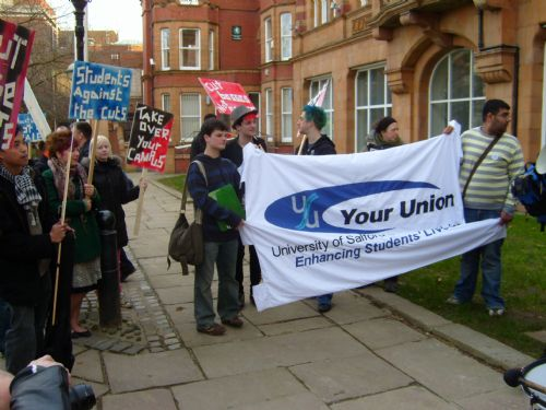Click to view University of Salford Anti Cuts Demo March 2009
