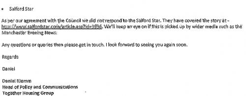 Click to view Salford Council FOI Email