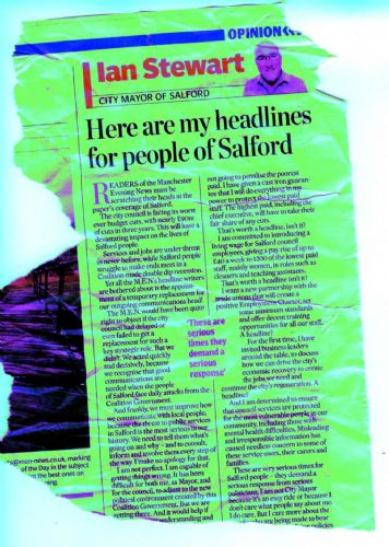 Click to view Ian Stewart Salford Mayor Writing in the Manchester Evening News