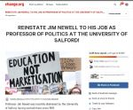 Petitioon to reinstate Prof Newell at Salford University