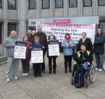 Save The Grange campaigners outside Salford Civic Centre this morning