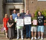 SAVE THE GRANGE CAMPAIGNERS OUTSIDE SALFORD COUNCIL MEETING