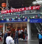 Tories Not Welcome flash mob at Piccadilly Station