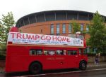 Trump Go Home bus hits Salford