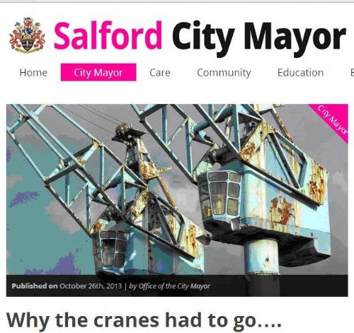 Salford City: SALFORD MAYOR CRANES DEMOLITION BACKLASH CONTINUES