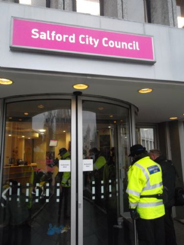 Click to view Protest at Salford Civic Centre